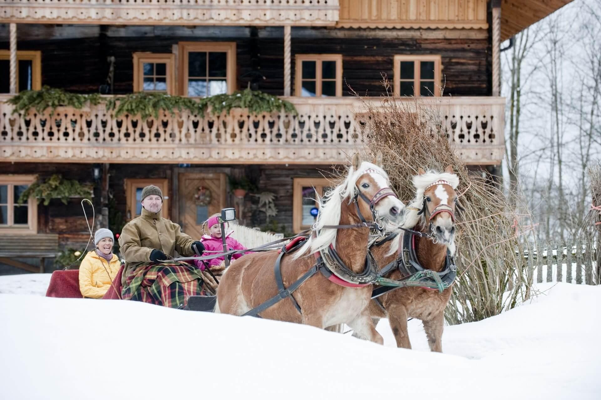Pferdeschlittenfahrt Hotel Laudersbach Altenmarkt